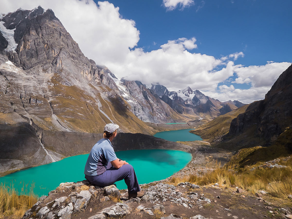 Viewpoint over 3 lakes on the way to Siula Pass on Huayhuash Circuit Trek in Peru