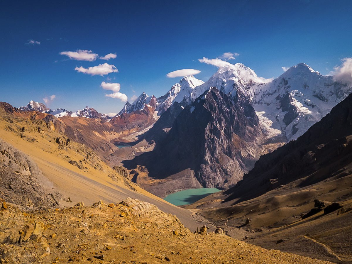 View from Santa Rosa Pass on Huayhuash Circuit Trek in Peru