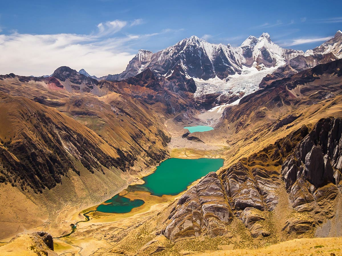 Viewpoint over the lakes near Paso Yauatcha on Huayhuash Circuit Trek in Peru