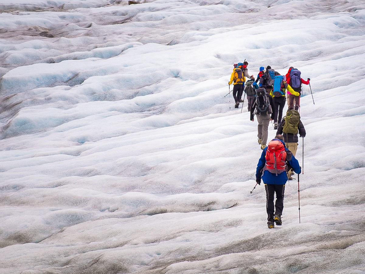 There are 2 glaciers to cross along the route