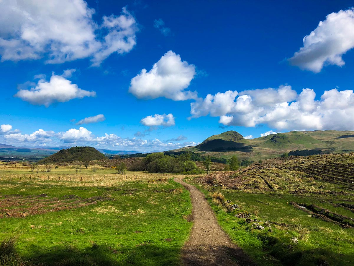 Beautiful trail of the West Highland Way trek in Scotland