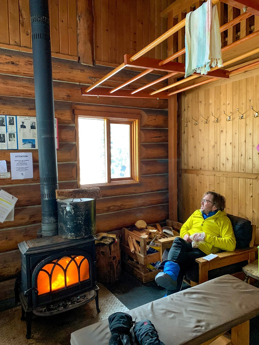Enjoying the tranquility at Elk Lakes Cabin in winter