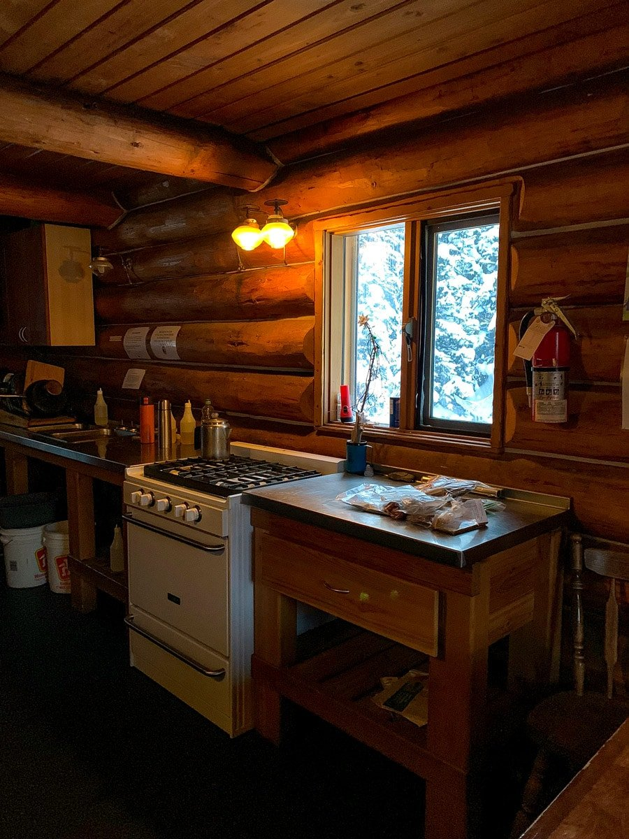 The cooking area at Elk Lakes Cabin