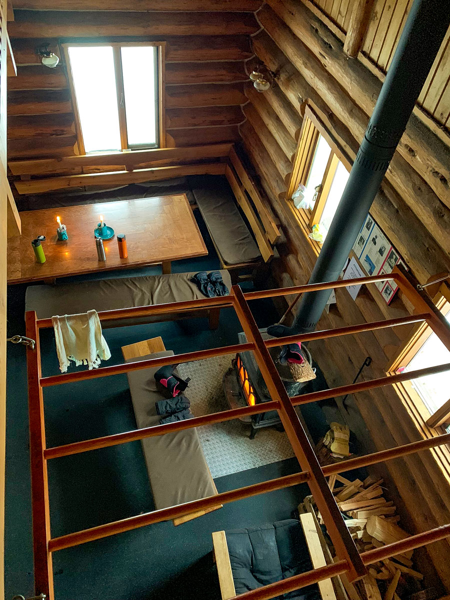Looking down from Sleeping area at Elk Lakes Cabin