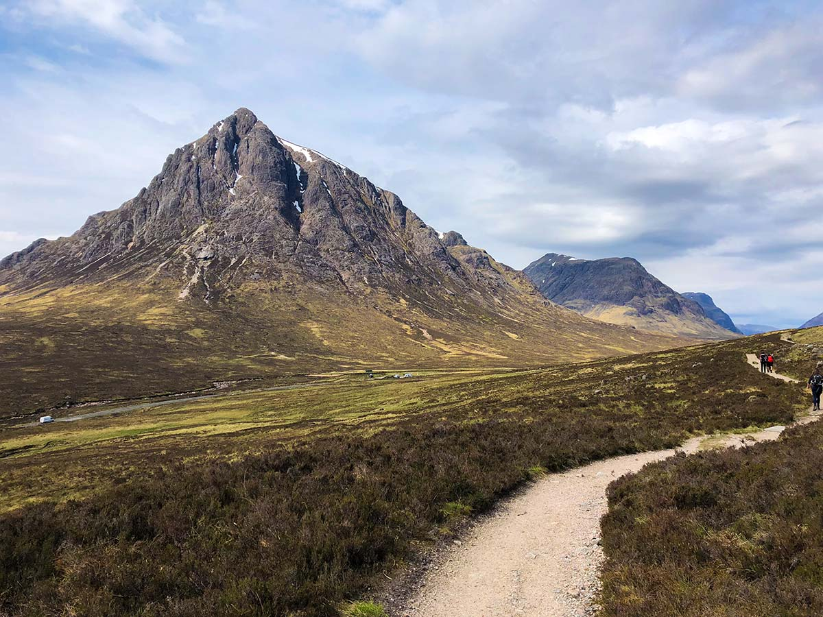 Hikers on West Highland Way in Scotland