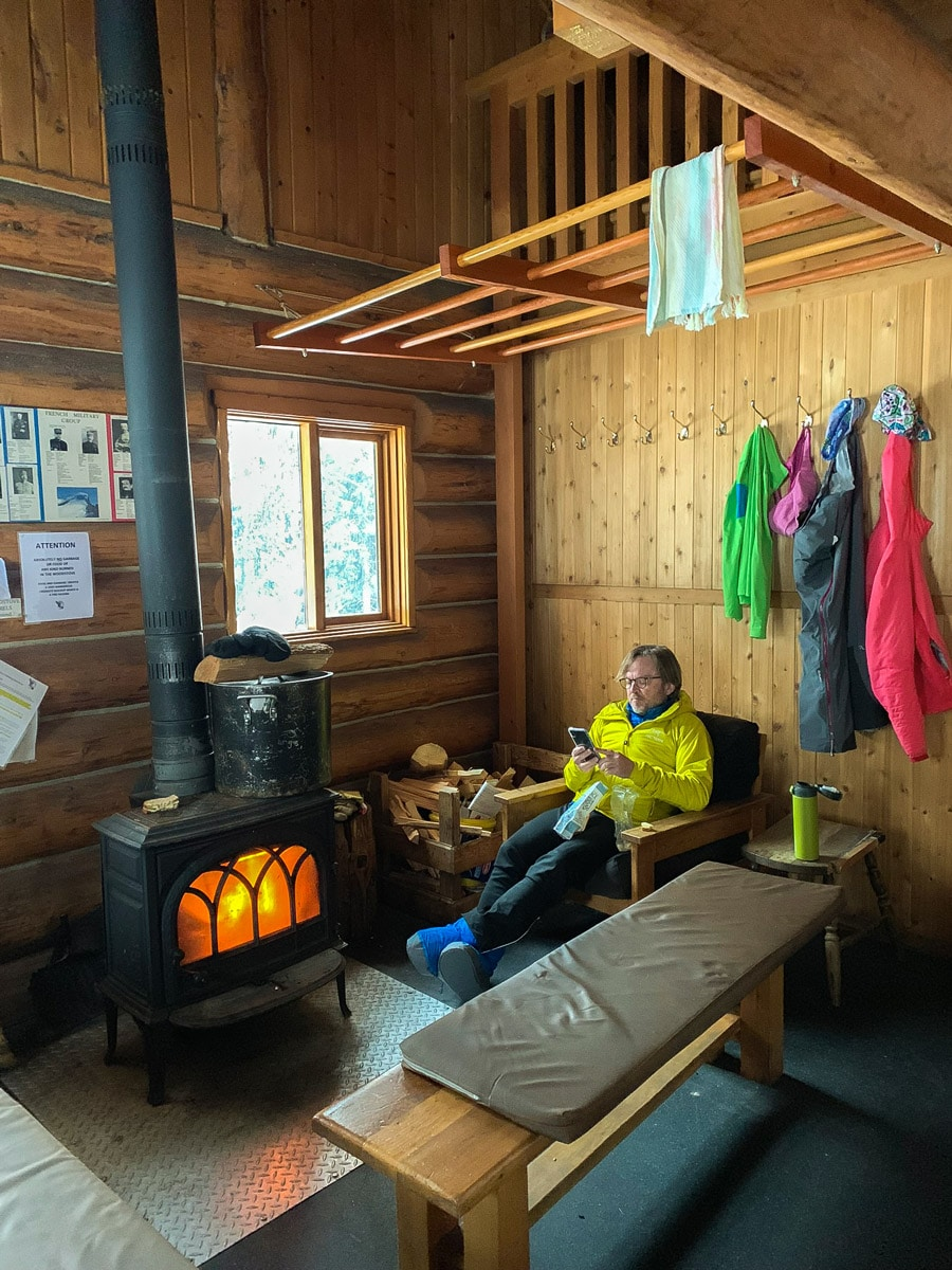 Quiet day in Elk Lakes Cabin during the winter