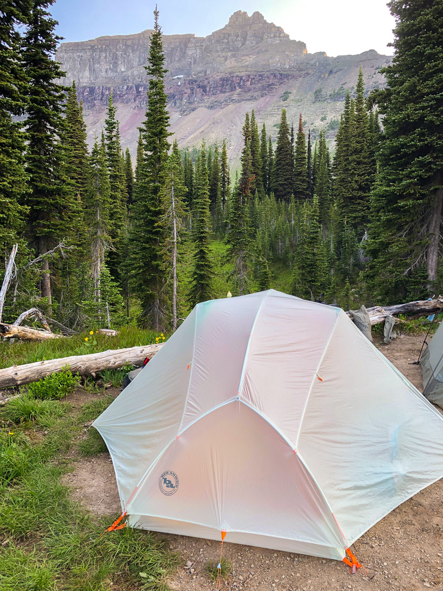 Big Agnes Copper Spur 2 Platinum Tent set up in Glacier National Park