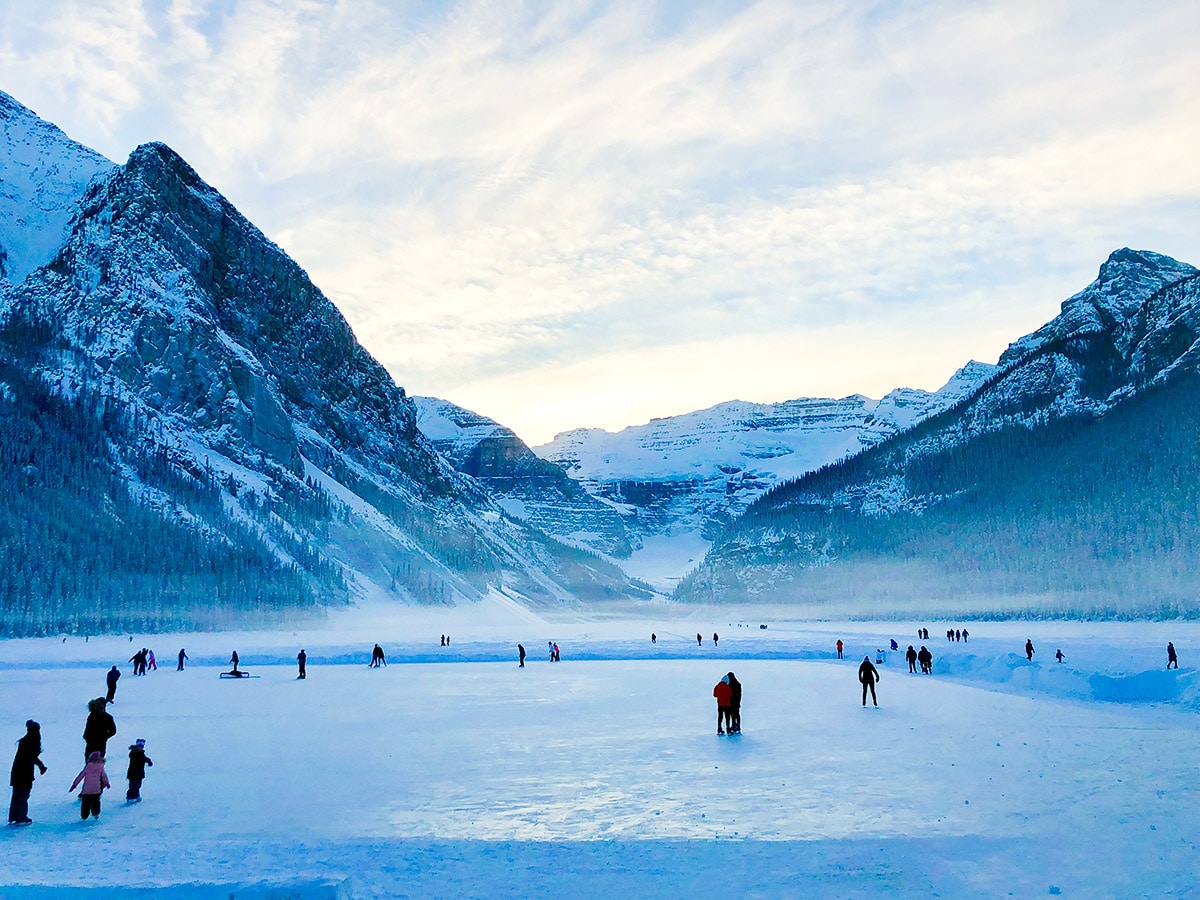 Frozen Lake Louise is a great winter destination in Banff National Park