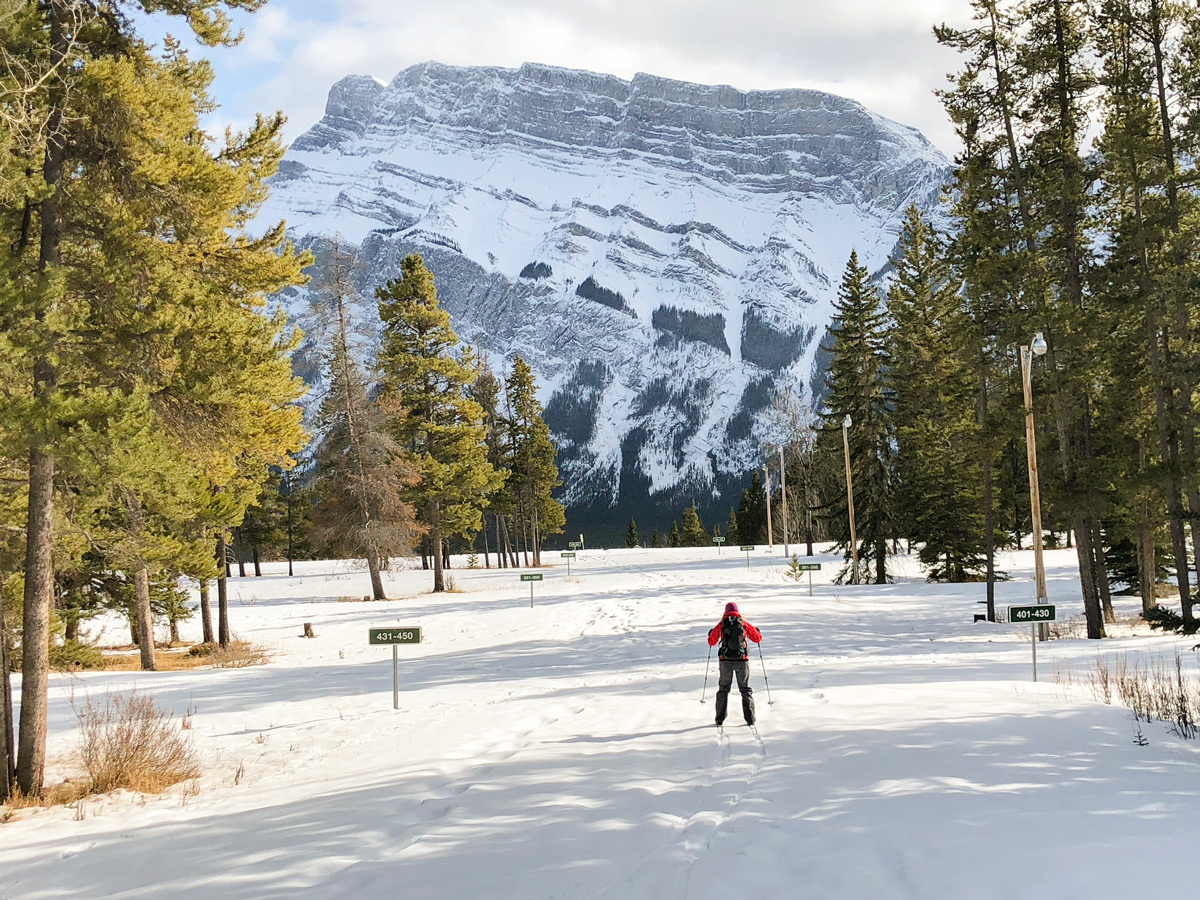 Easy cross country skiing trail in Tunnel Mountain Campground near Banff
