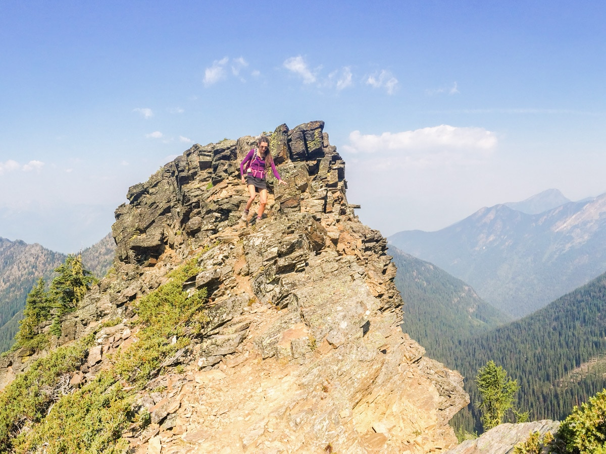 Scrambly trail of Mount Loki hike in West Kootenays