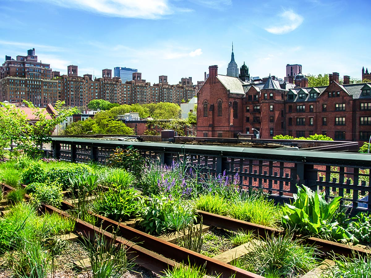 View at Chelsea from the Highline on city-walk in New York City