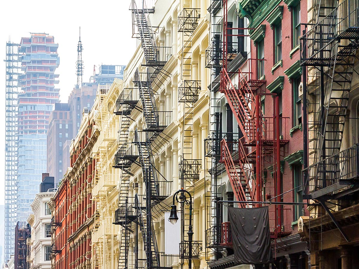 Colourful houses in SoHo on city-walk in New York City