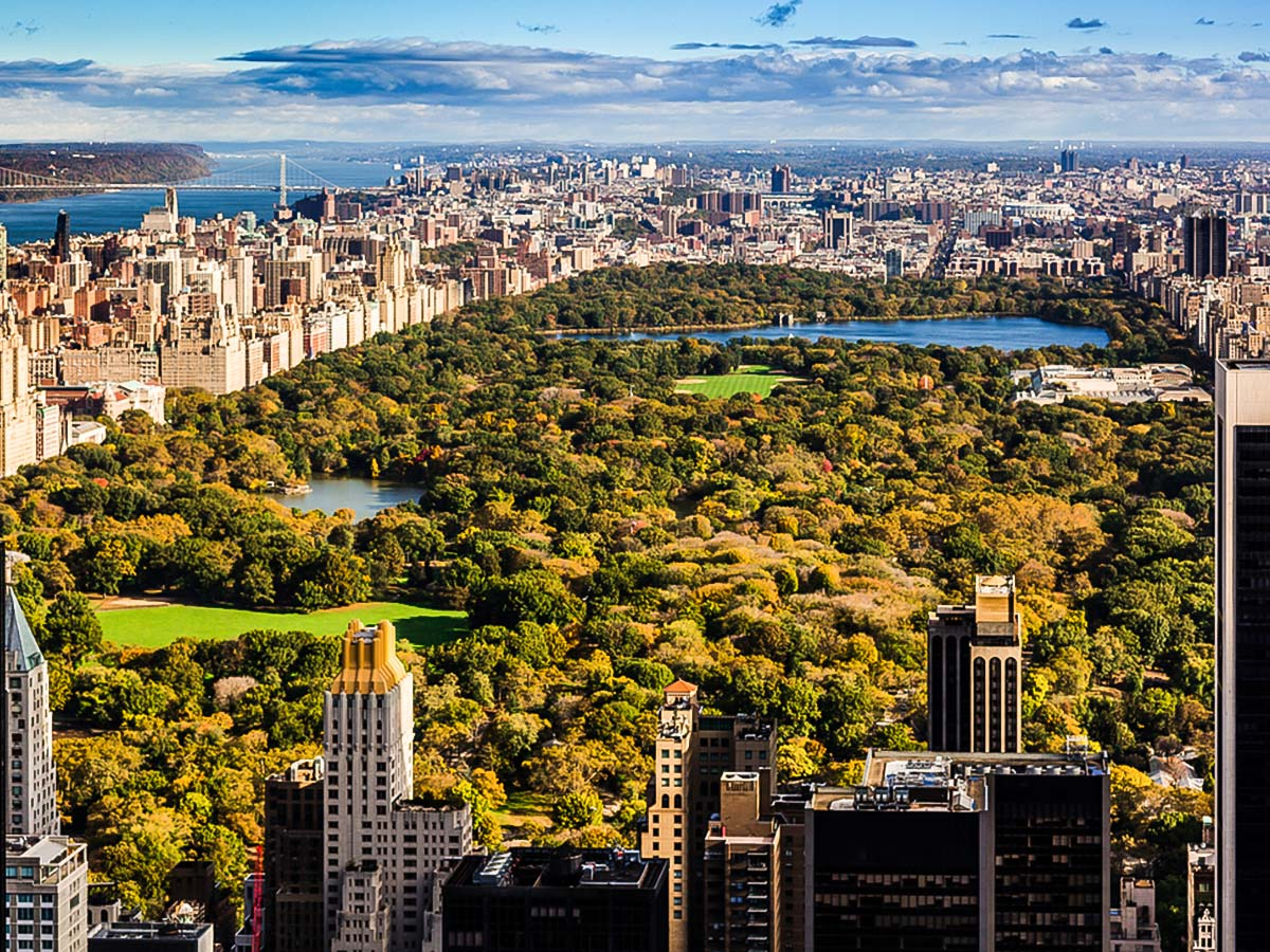 View of Central Park from Skyscraper on city-walk in New York City