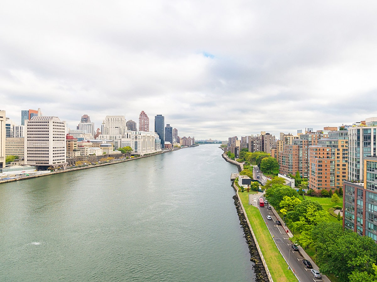 East River views from the bridge in New York City