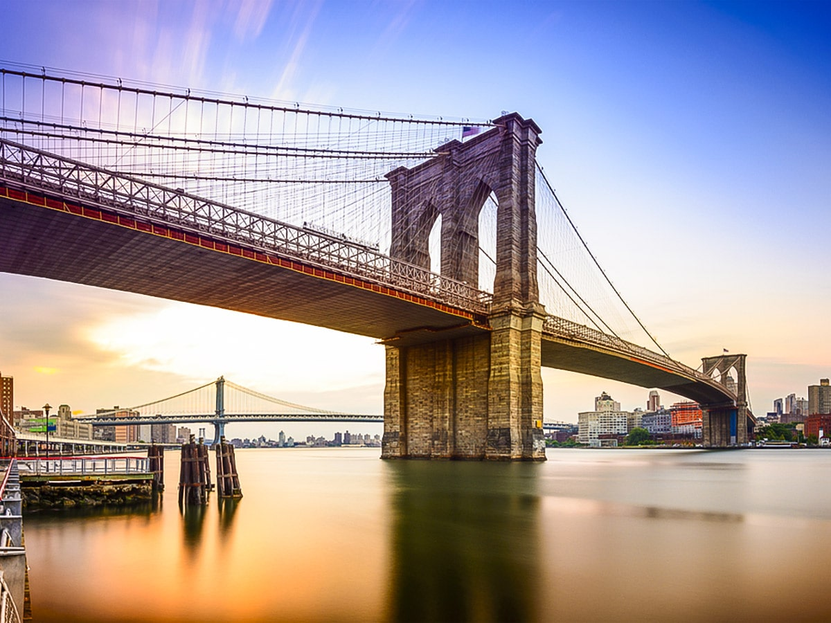 Brooklyn Bridge at Sunrise on city-walk in New York City