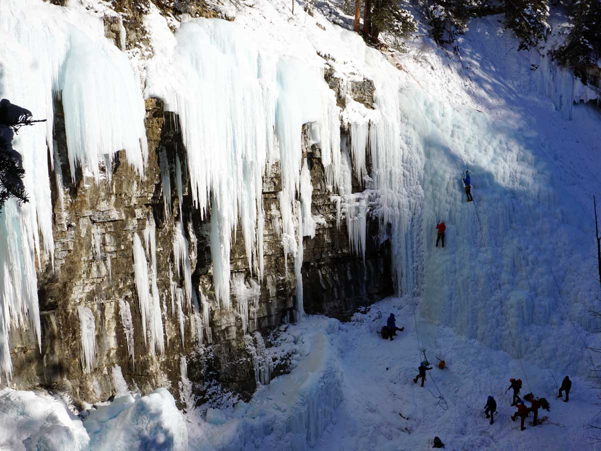 Ice Climbing in Johnston Canyon is a great idea of what to do in Banff on winter