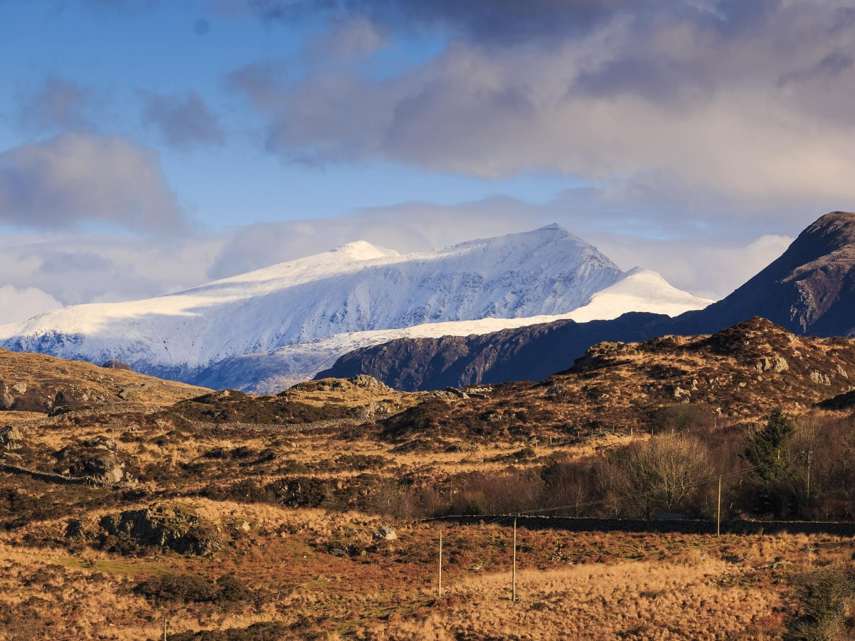Snow-covered mountains of Snowdonia National Park