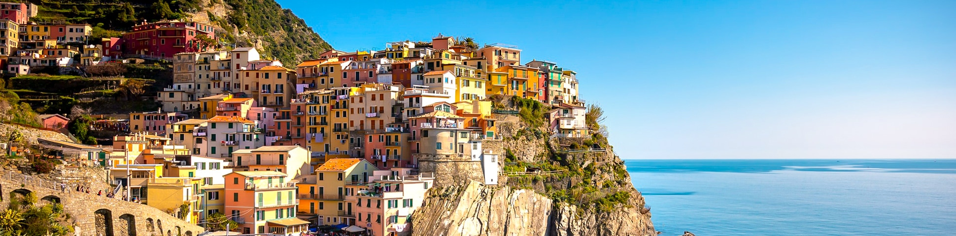 Colorful houses in small Italian village along Cinque Terre, Liguria