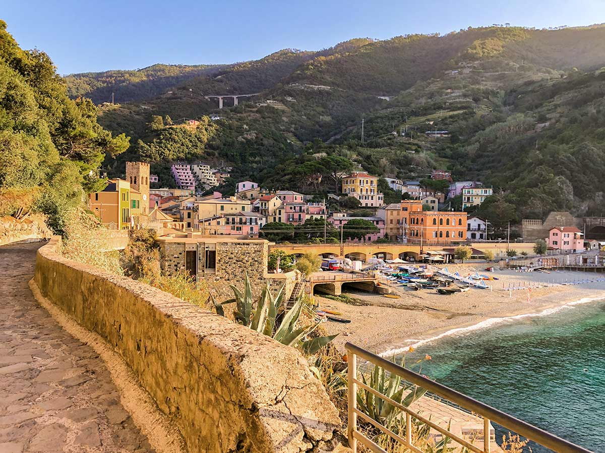 Cinque Terre hike in Liguria leads along the beautiful beach of Monterosso