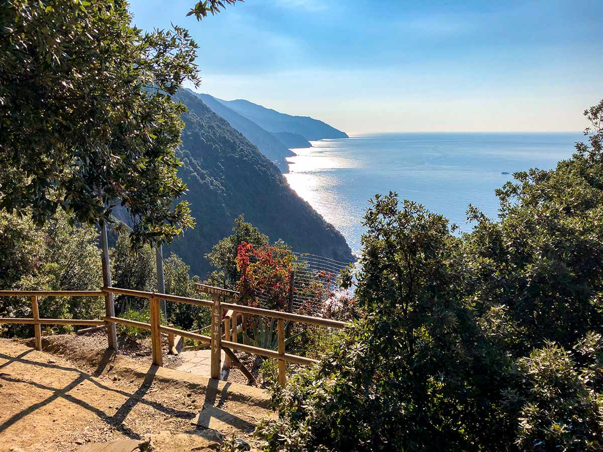 Beautiful views of the sea from the overlook of Cinque Terre hike in Liguria, Italy