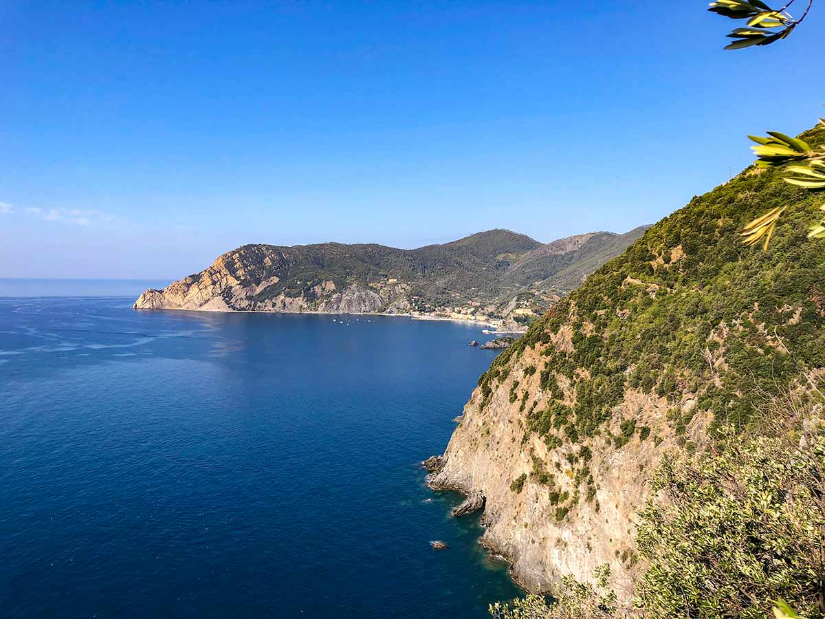 Looking towards Monterosso near Vernazza on Cinque Terre hike in Liguria, Italy