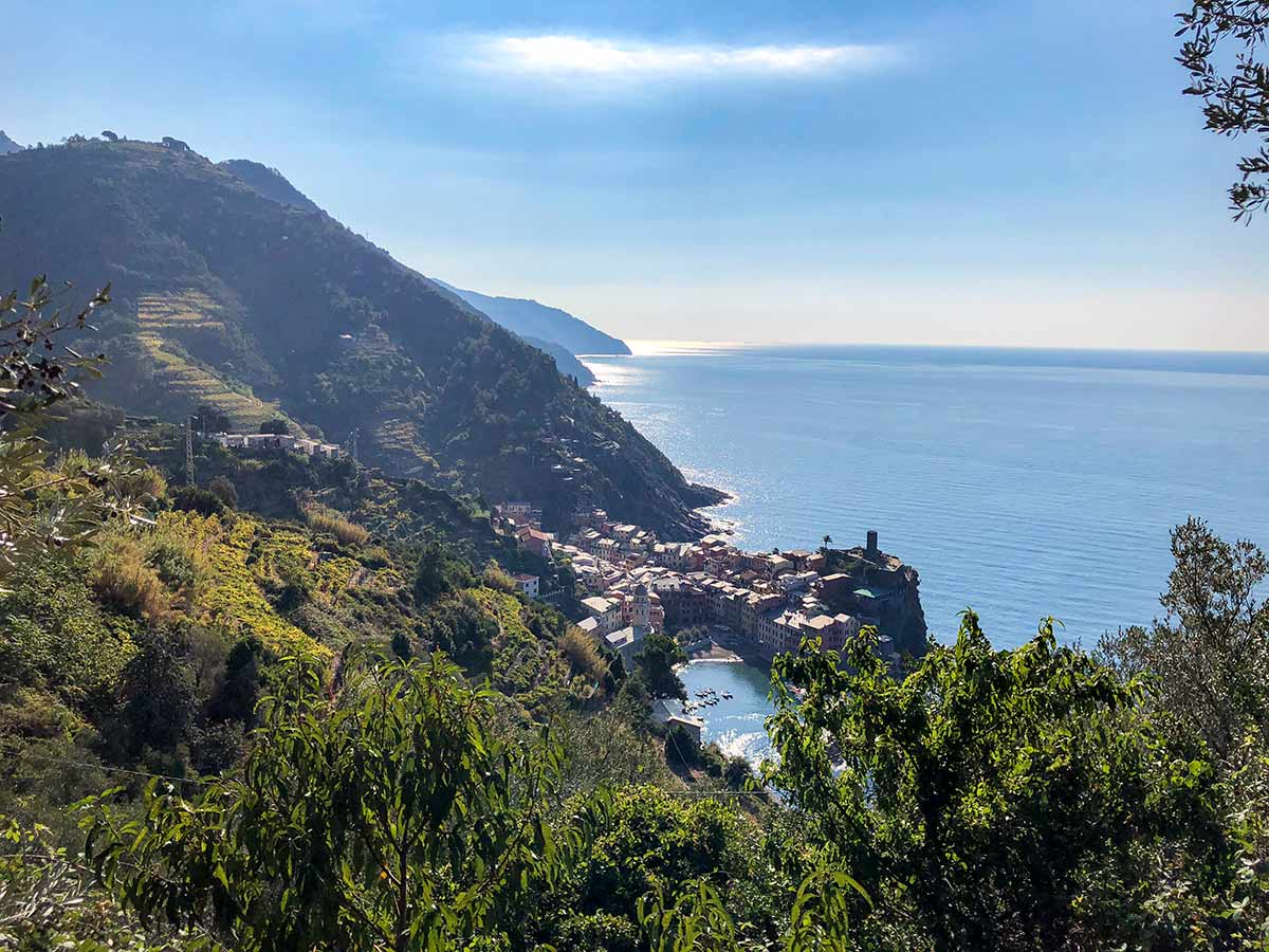 Looking down on Vernazza from the Cinque Terre hiking path
