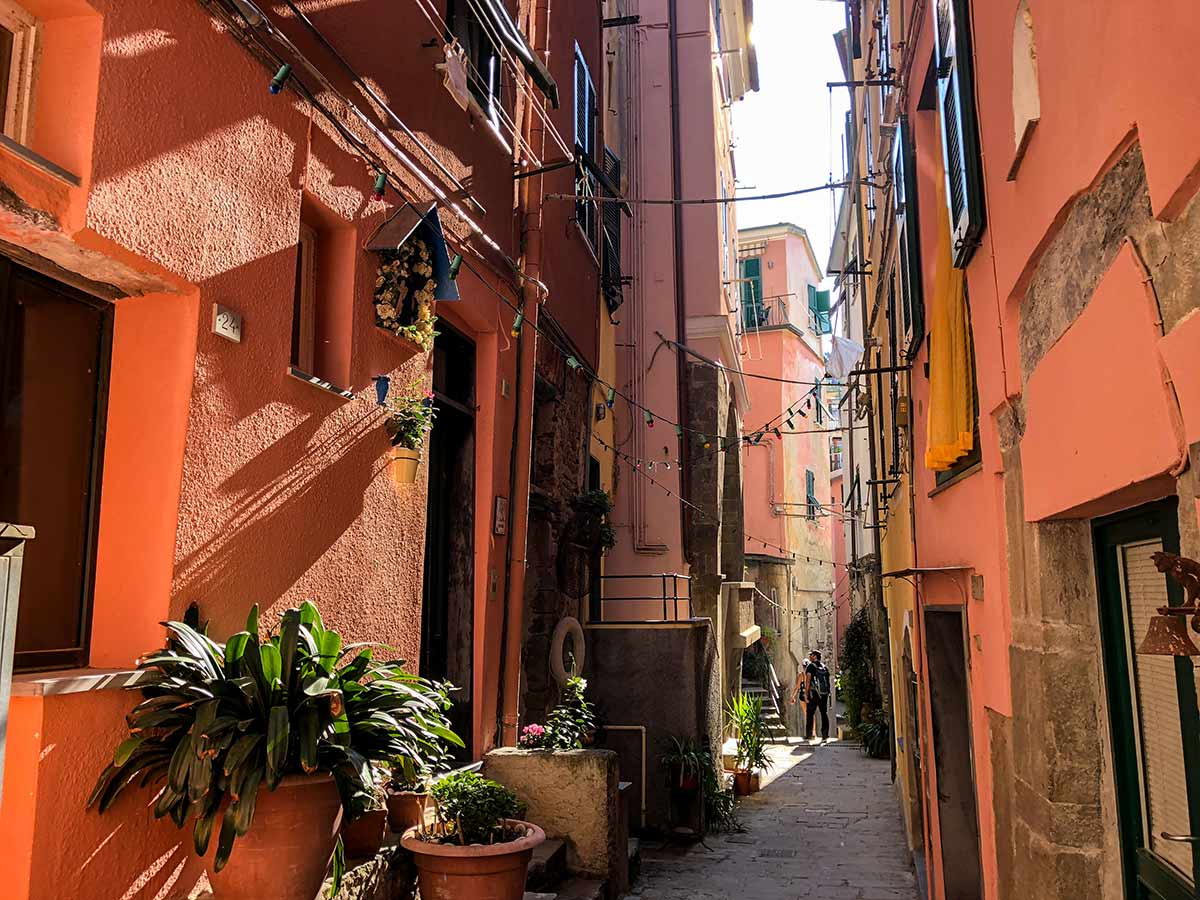 The narrow streets of Vernazza in Cinque Terre