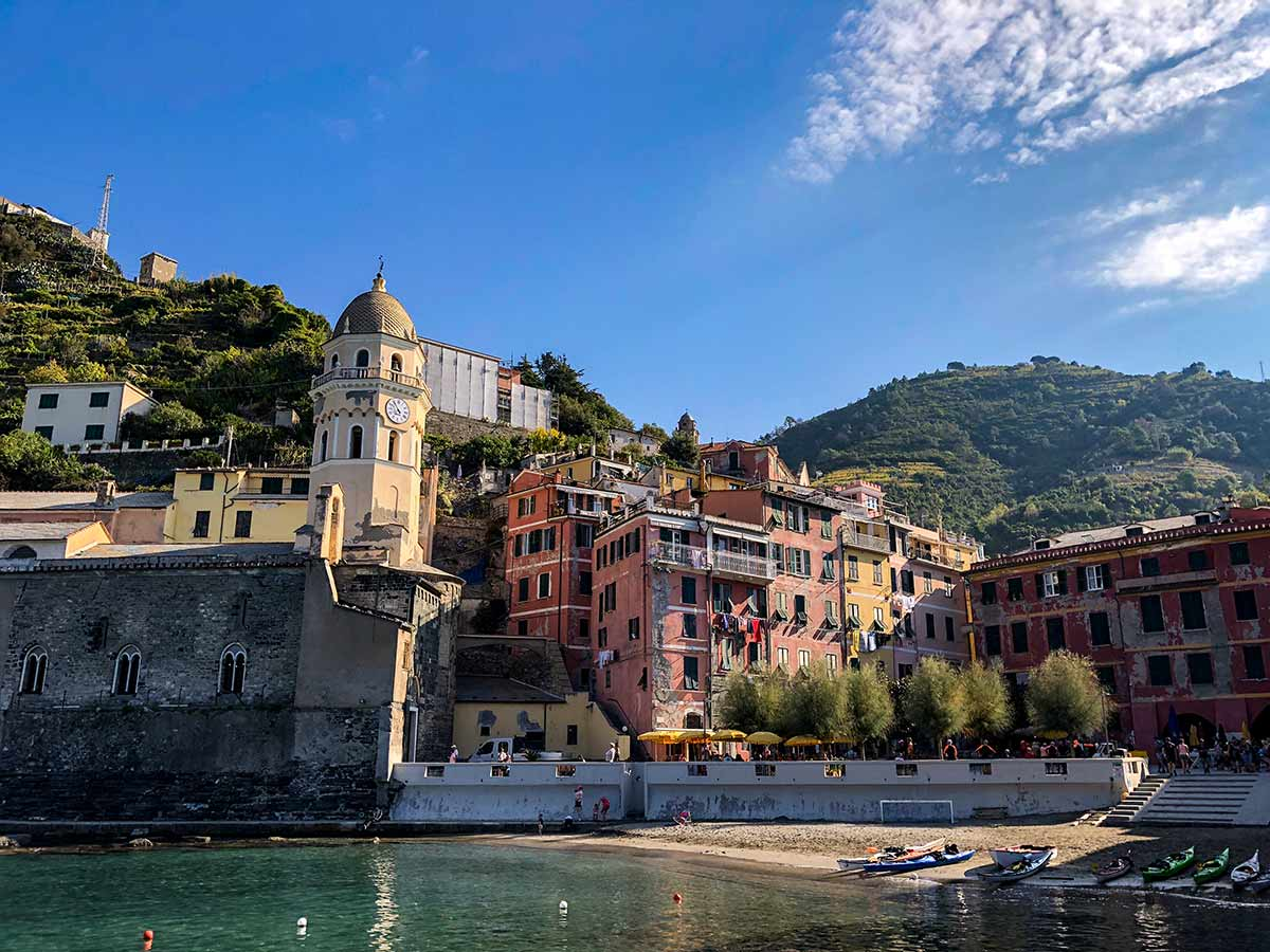 Vernazza views from the shoreline on Cinque Terre hike in Liguria, Italy