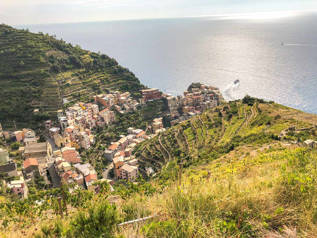Manarola view from the hike of Cinque Terre in Liguria