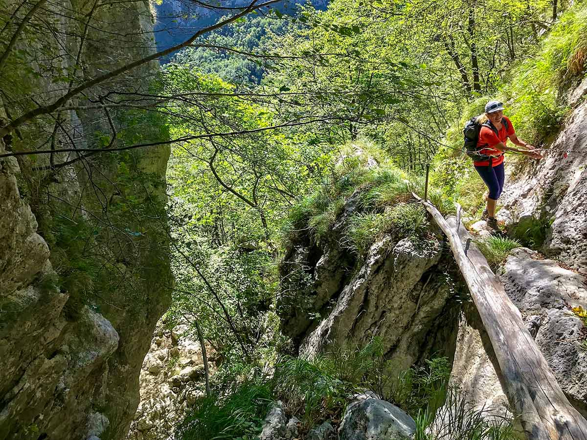 Using the chains on Monte Croce from Palagnana Hike in Tuscany