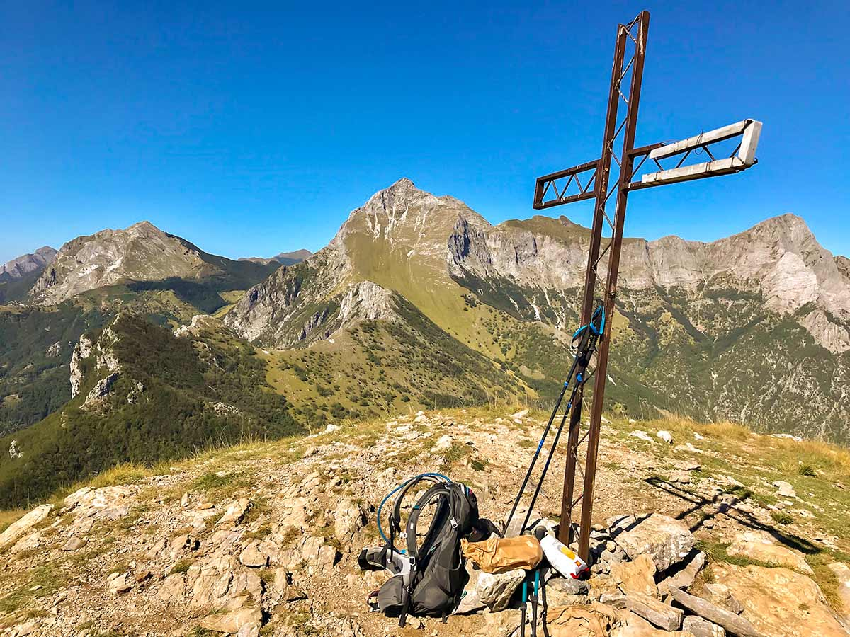 Summit cross on Monte Croce from Palagnana Hike in Tuscany
