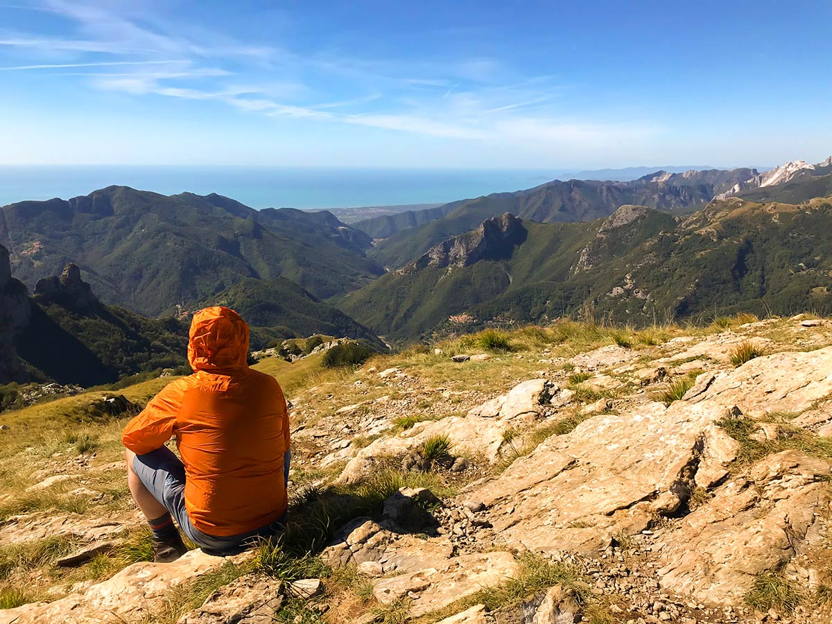 Resting on Monte Croce from Palagnana Hike in Tuscany