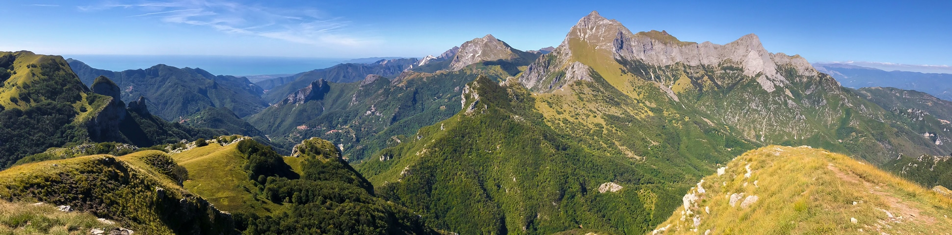 Panoramic view of Monte Croce from Palagnana Hike in Tuscany