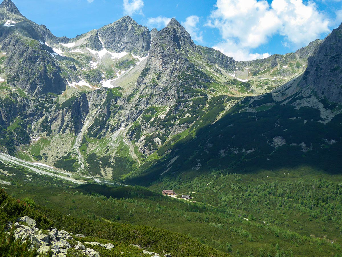 Zelené pleso chalet surrounded by High Tatras