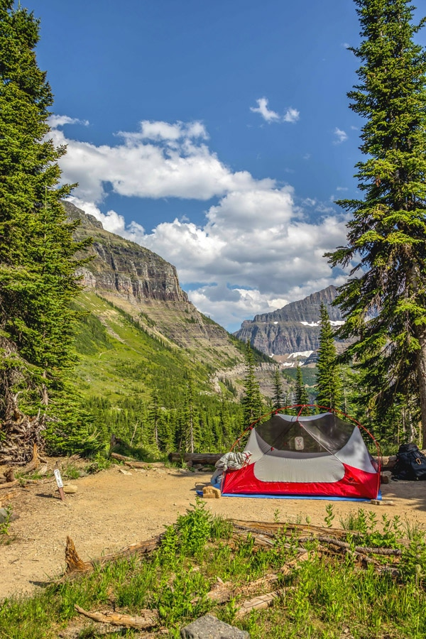 Setting up camp on Boulder Pass Backpacking Trail in Glacier National Park