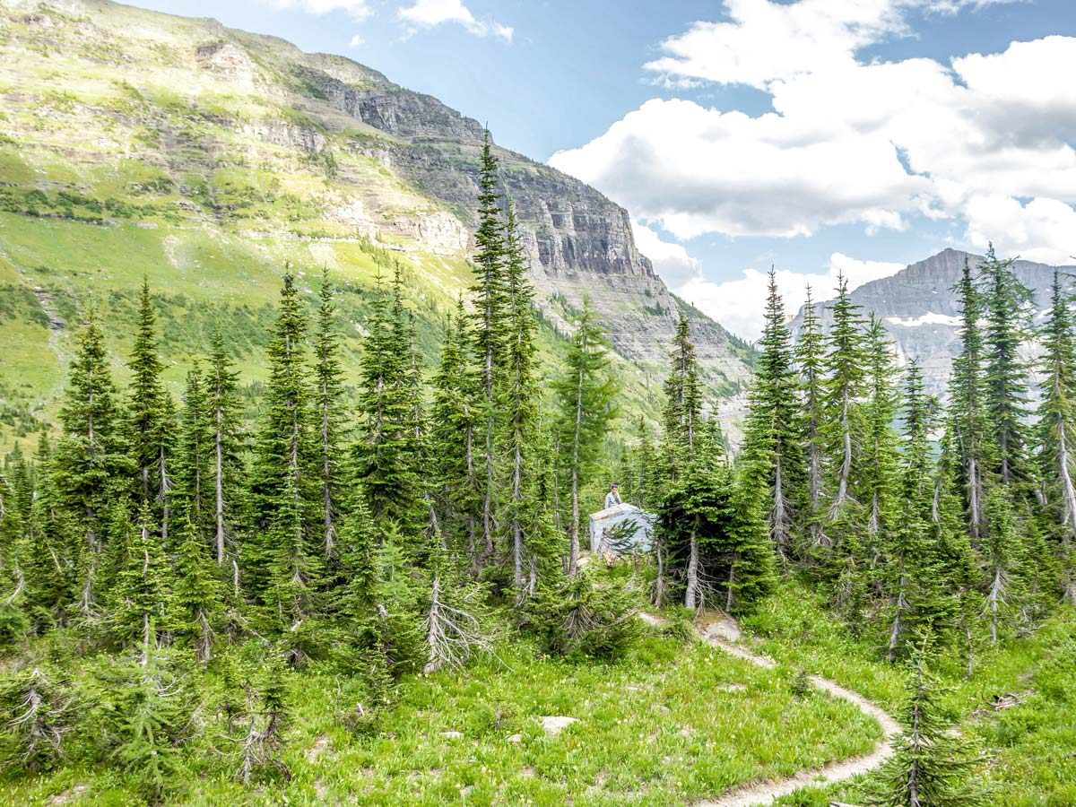 Tent and beautiful views on Boulder Pass Backpacking Trail in Glacier National Park