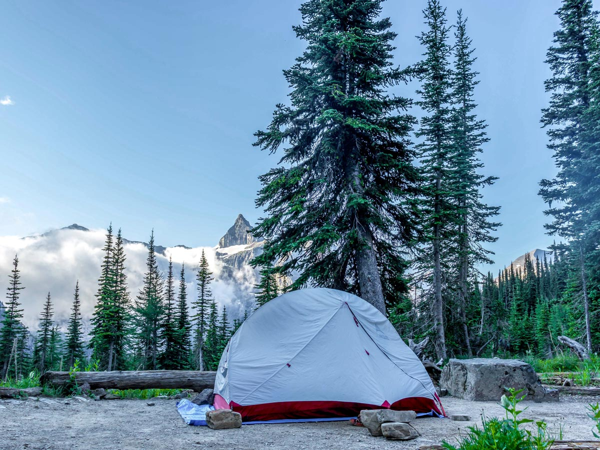 Campsite on the hike of Boulder Pass Backpacking Trail in Glacier National Park