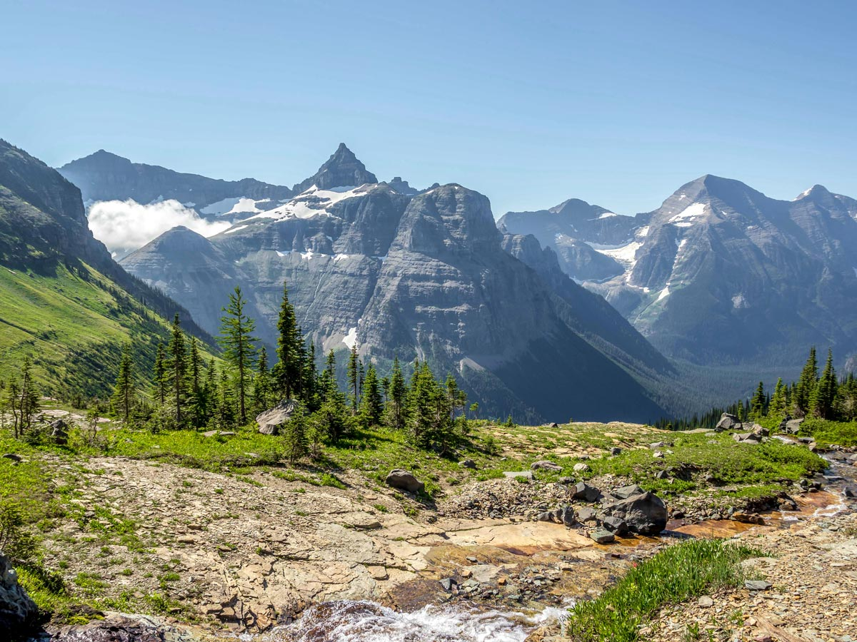 Looking down to the valley on Boulder Pass Backpacking Trail in Glacier National Park