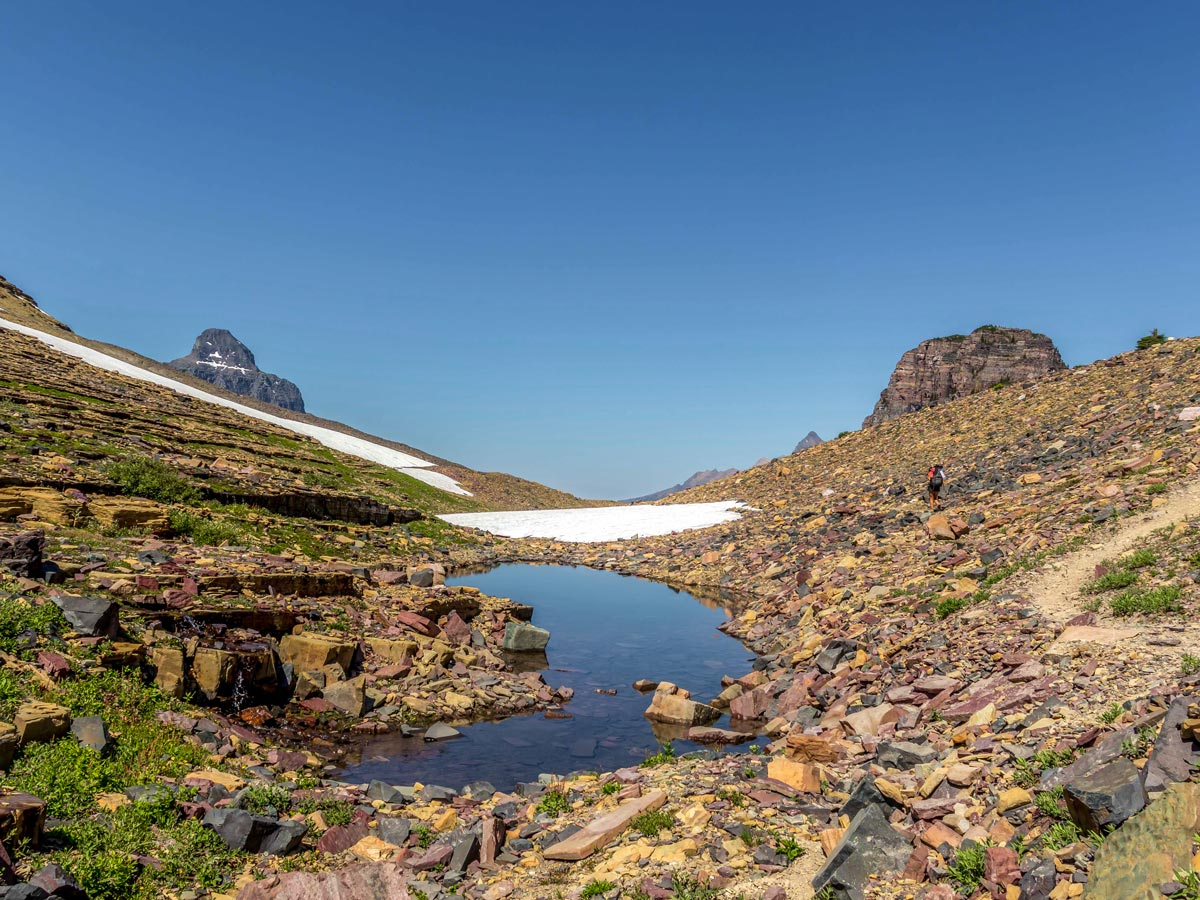 Snow near the top of Boulder Pass Backpacking Trail in Glacier National Park