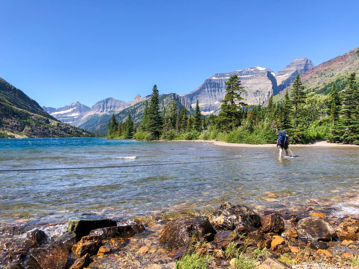 Crossing the Belly River on Day 2 on North Circle Backpacking Trail in Glacier National Park