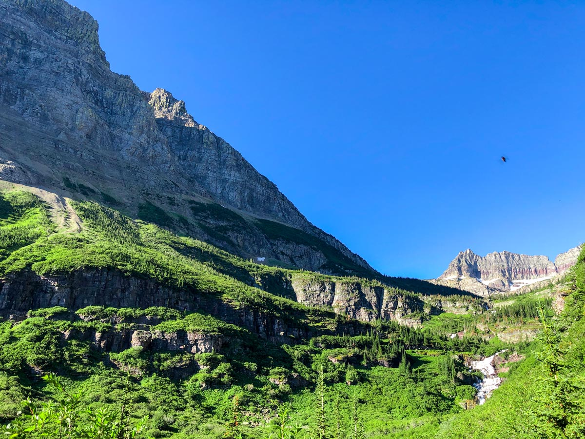 Beautiful rock walls on North Circle Backpacking Trail in Glacier National Park