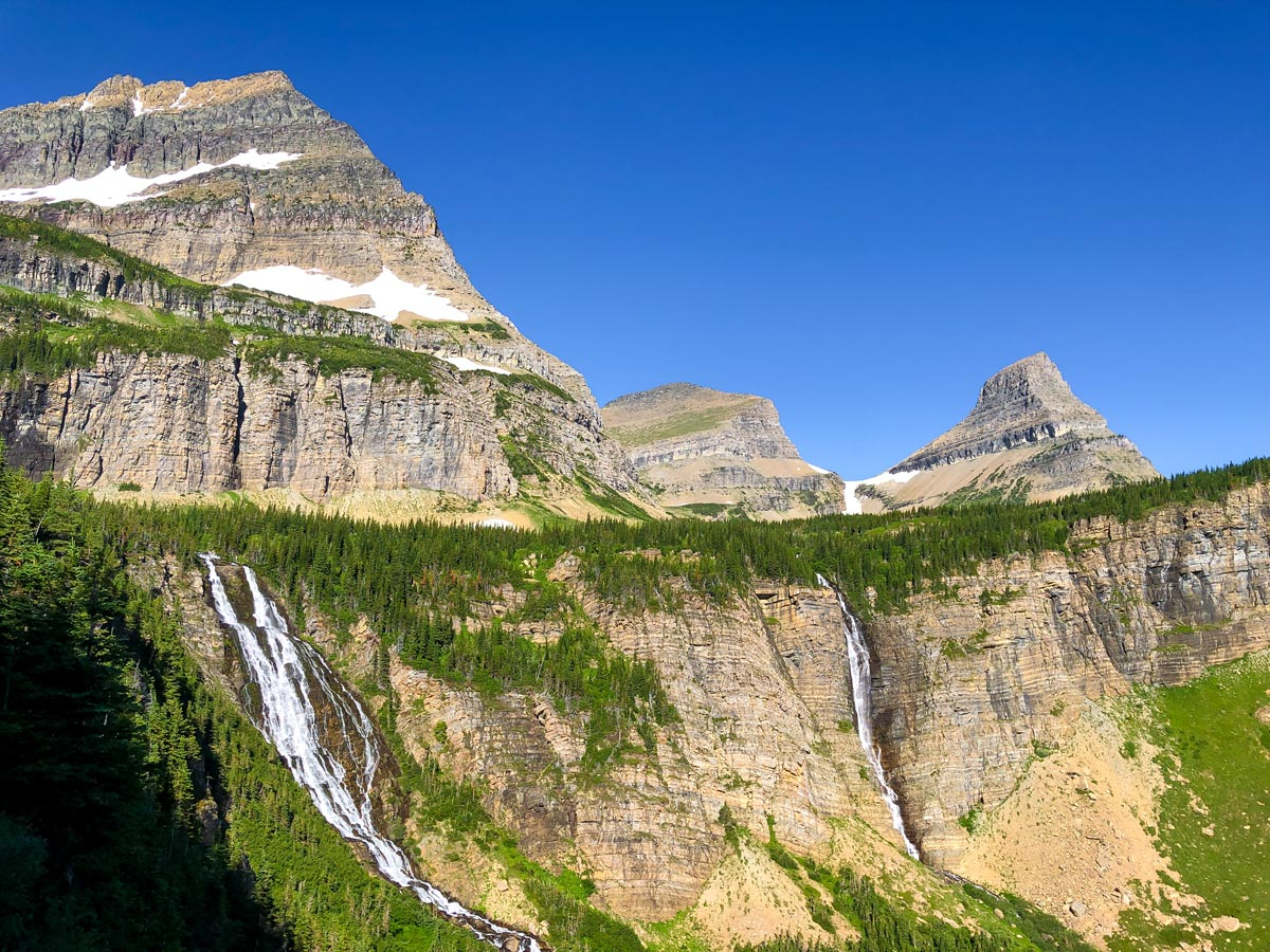 Lots of Waterfalls on the North Circle Trail in Glacier National Park