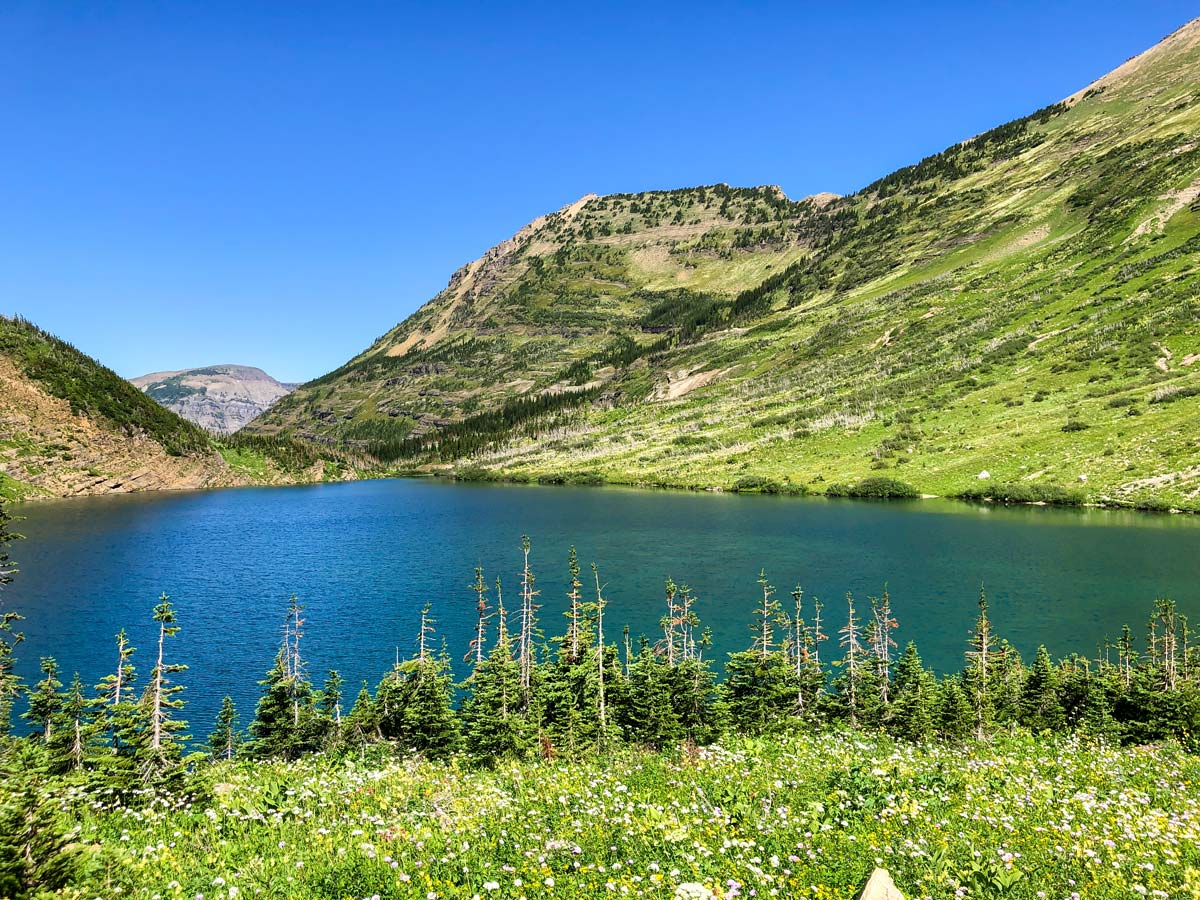 Stoney Indian Lake on North Circle Backpacking Trail in Glacier National Park