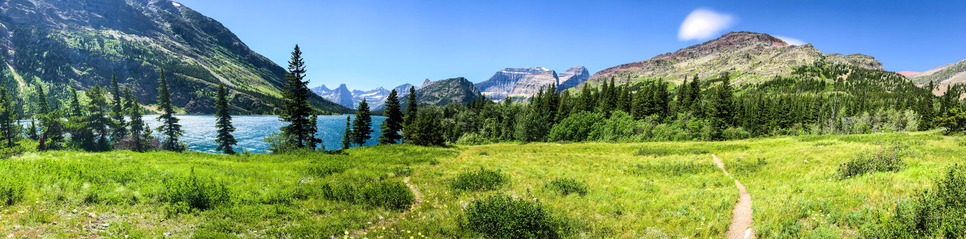 Panoramic view of North Circle Backpacking Trail in Montana, USA