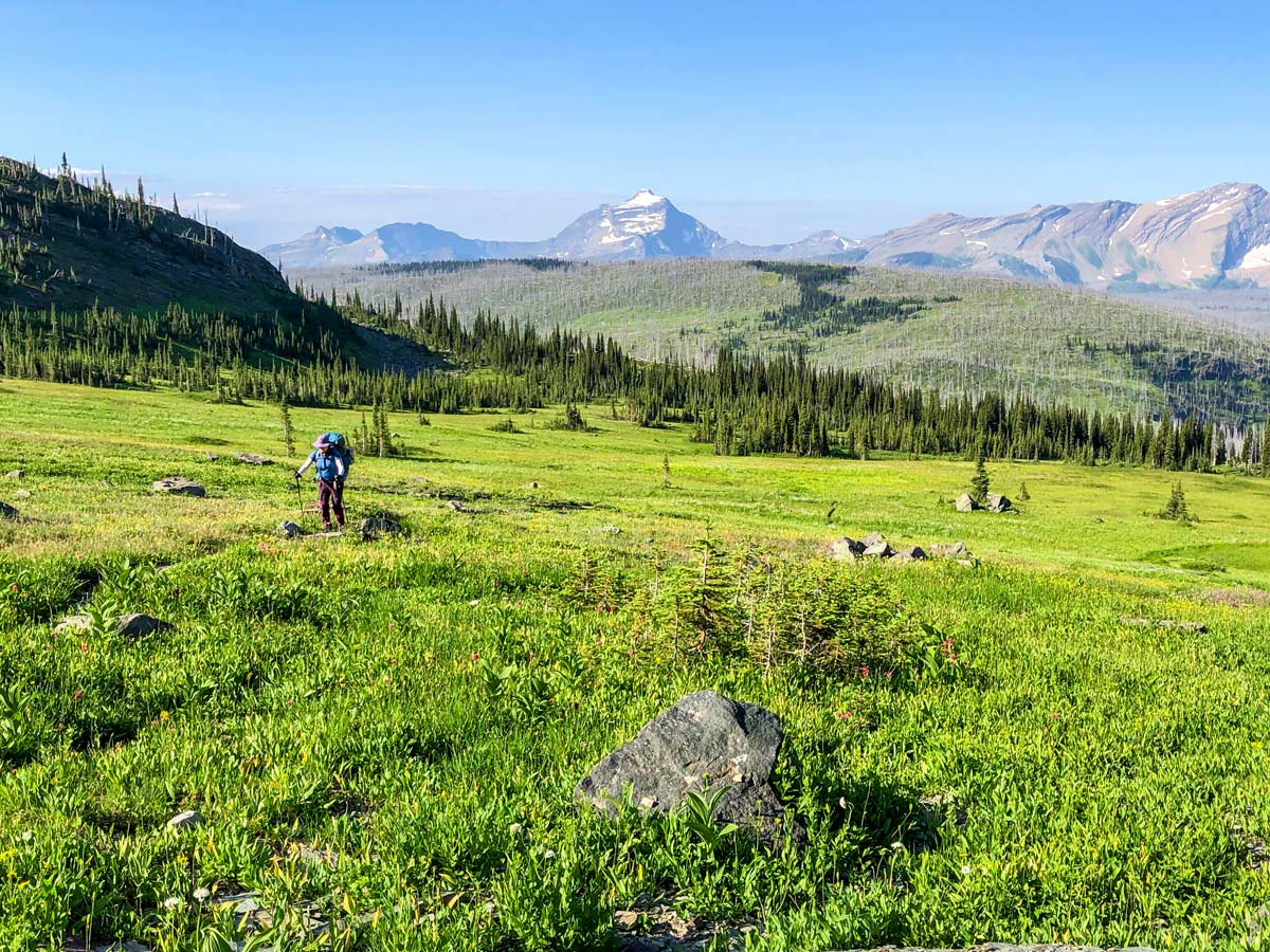 Amazing views on North Circle Backpacking Trail in Glacier National Park
