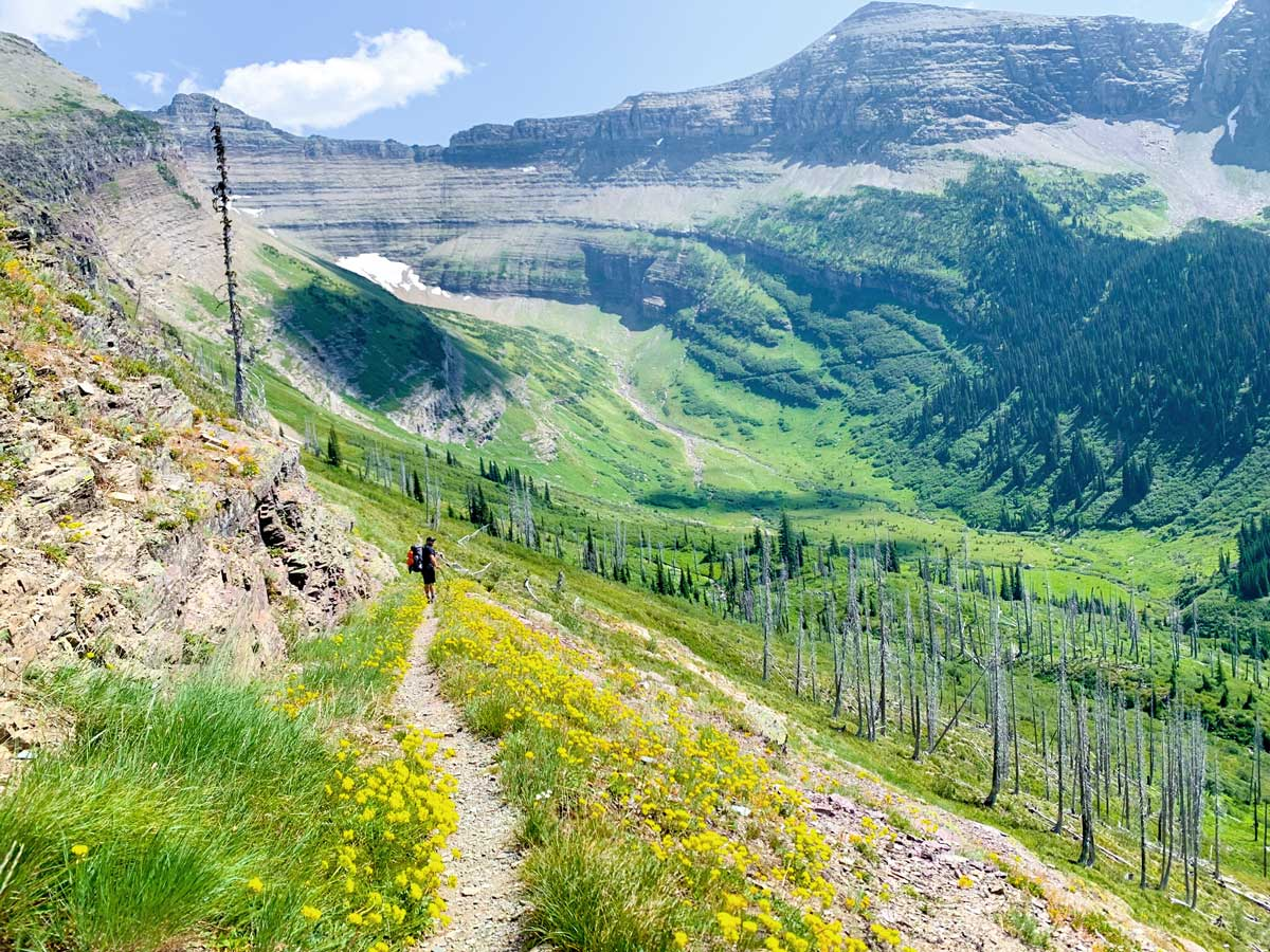 Valley views on North Circle Backpacking Trail in Glacier National Park