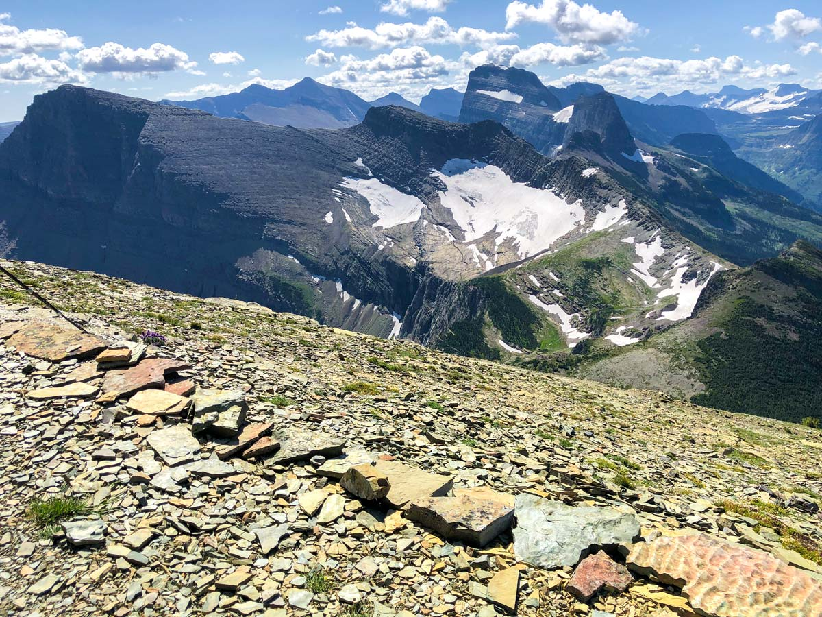 View from Swiftcurrent valley on North Circle Backpacking Trail in Glacier National Park