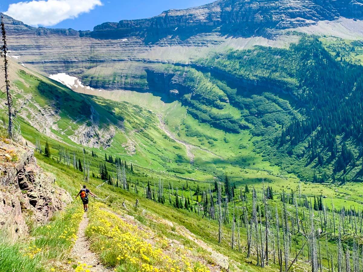 Stunning views of the valley on North Circle Backpacking Trail in Glacier National Park