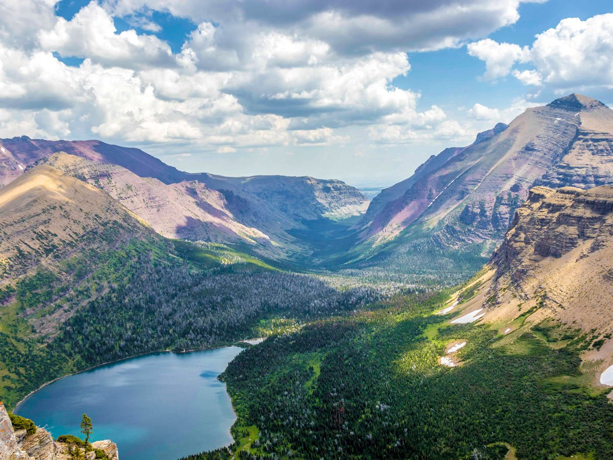 View from the pass on Pitamakan Dawson Loop Backpacking Trail in Glacier National Park