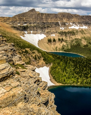 Beautiful lakes on Pitamakan Dawson Backpack in Glacier National Park, Montana